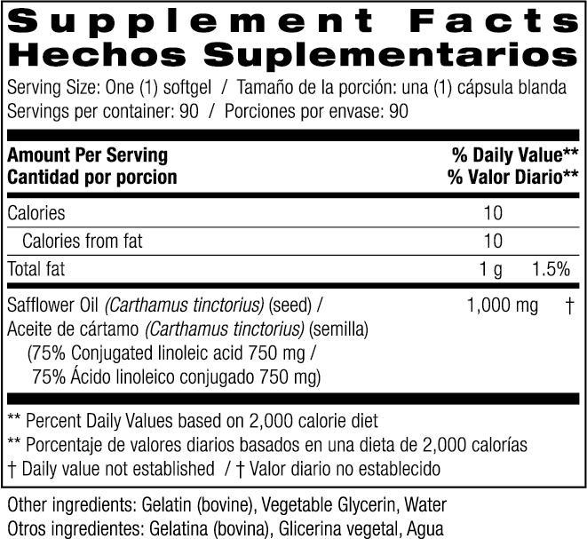 Safflower Supplement Facts