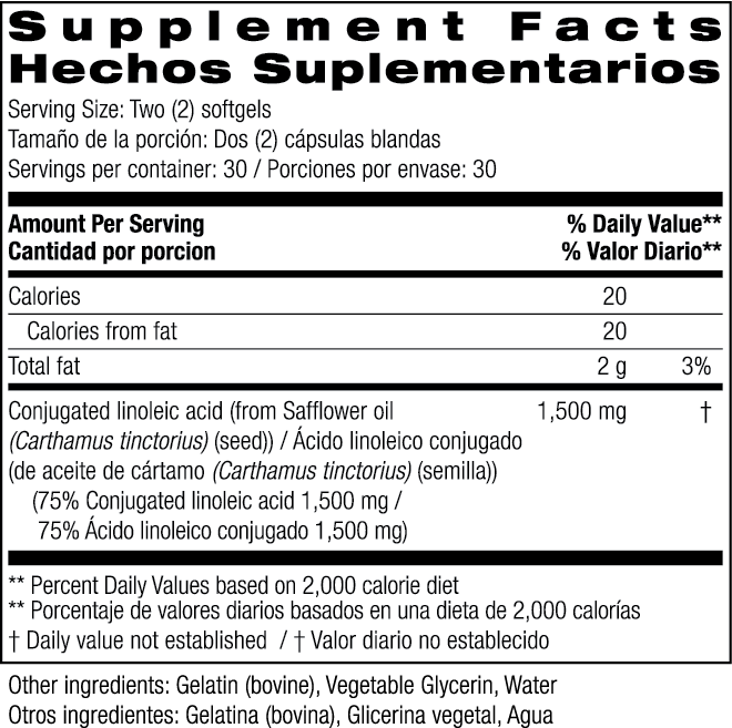 CLA 1500 Supplement Facts